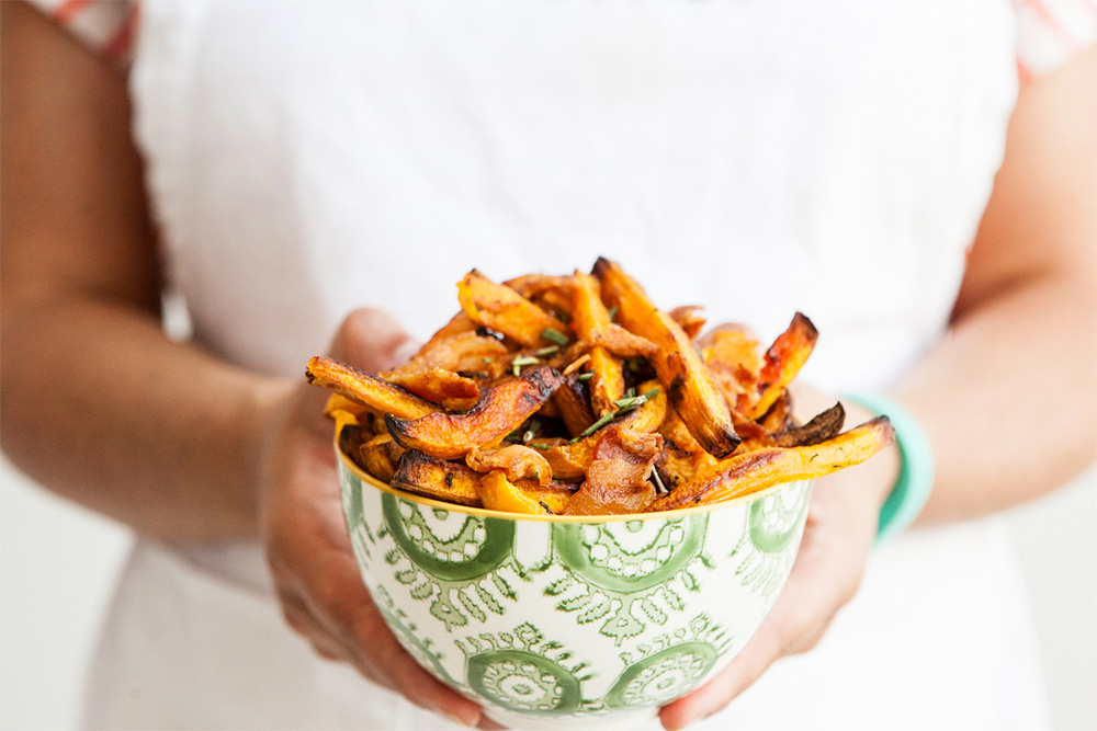 In the Kitchen: Rosemary and Bacon Roasted Butternut Squash Fries -roasted butternut squash