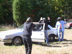 Carjacking force on force training scenario at TDI
