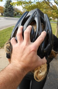 If you keep your helmet strap snapped, an attacker can easily control your movements by sticking his fingers into the helmet vents and dragging your head down.