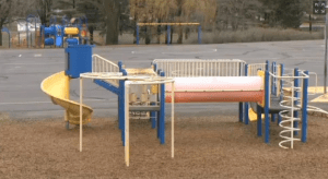 The playground that a student used as a test firing ground to refine the bombs he had planned to set off in school.