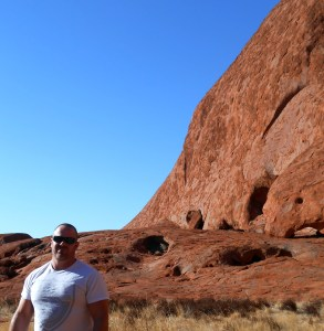 In front of Uluru, the largest rock in the world