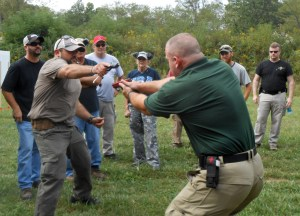 Working on some close quarters gunfighting movements
