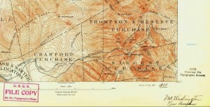 USGS 1893 Mount Washington Topo Map Section