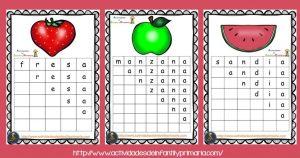 Completa palabras: motivos frutas y animales