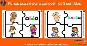Fichas puzzle para conocer los 5 sentidos