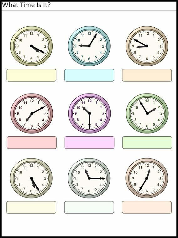 Pre Kindergarten Worksheet Clock