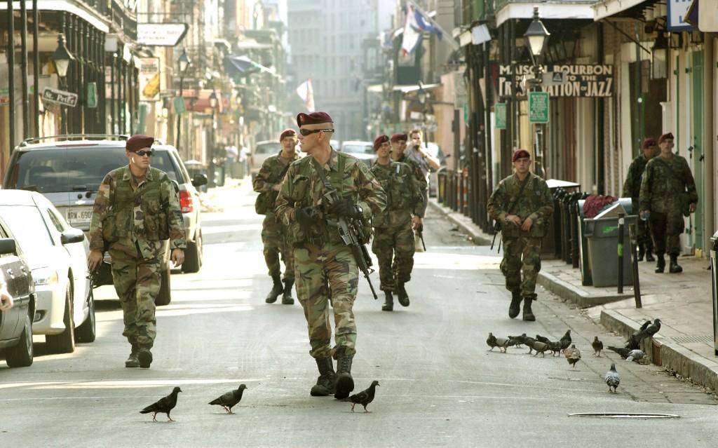 military on street
