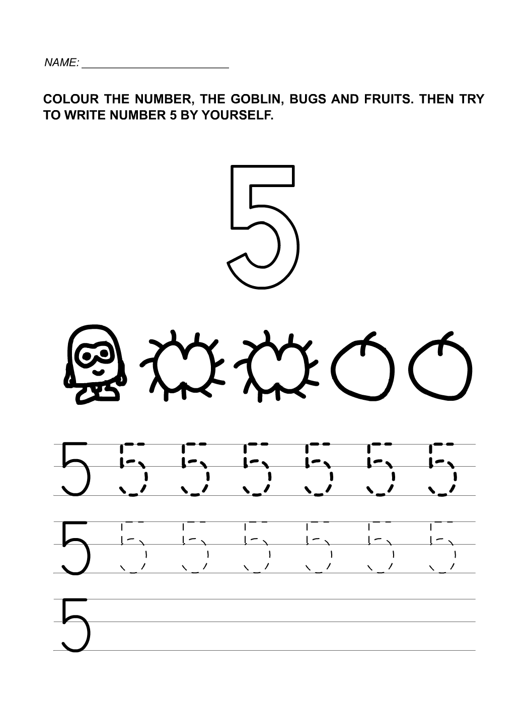 Number 5 Worksheet Free Worksheets Library