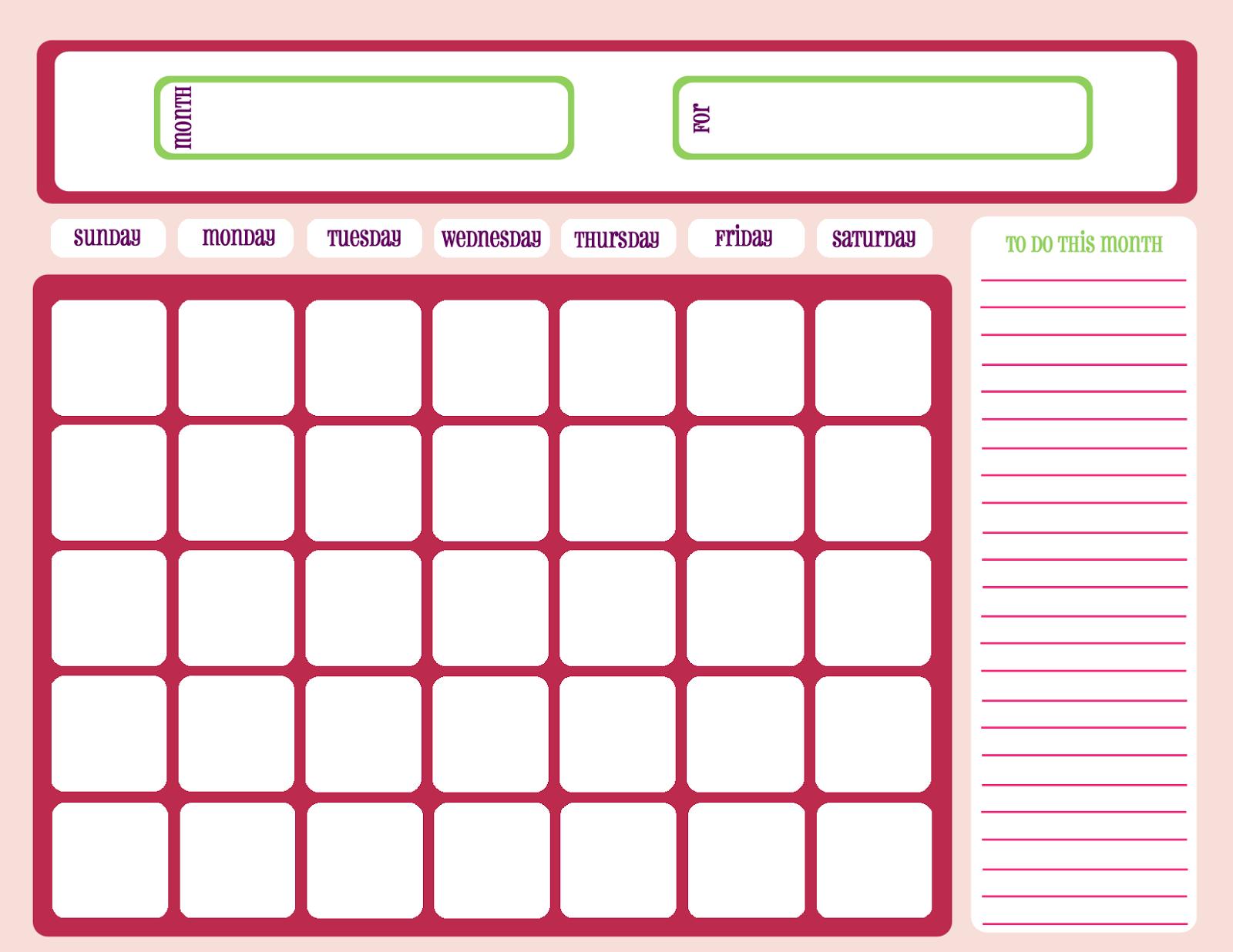 Month Calendar Template Workout