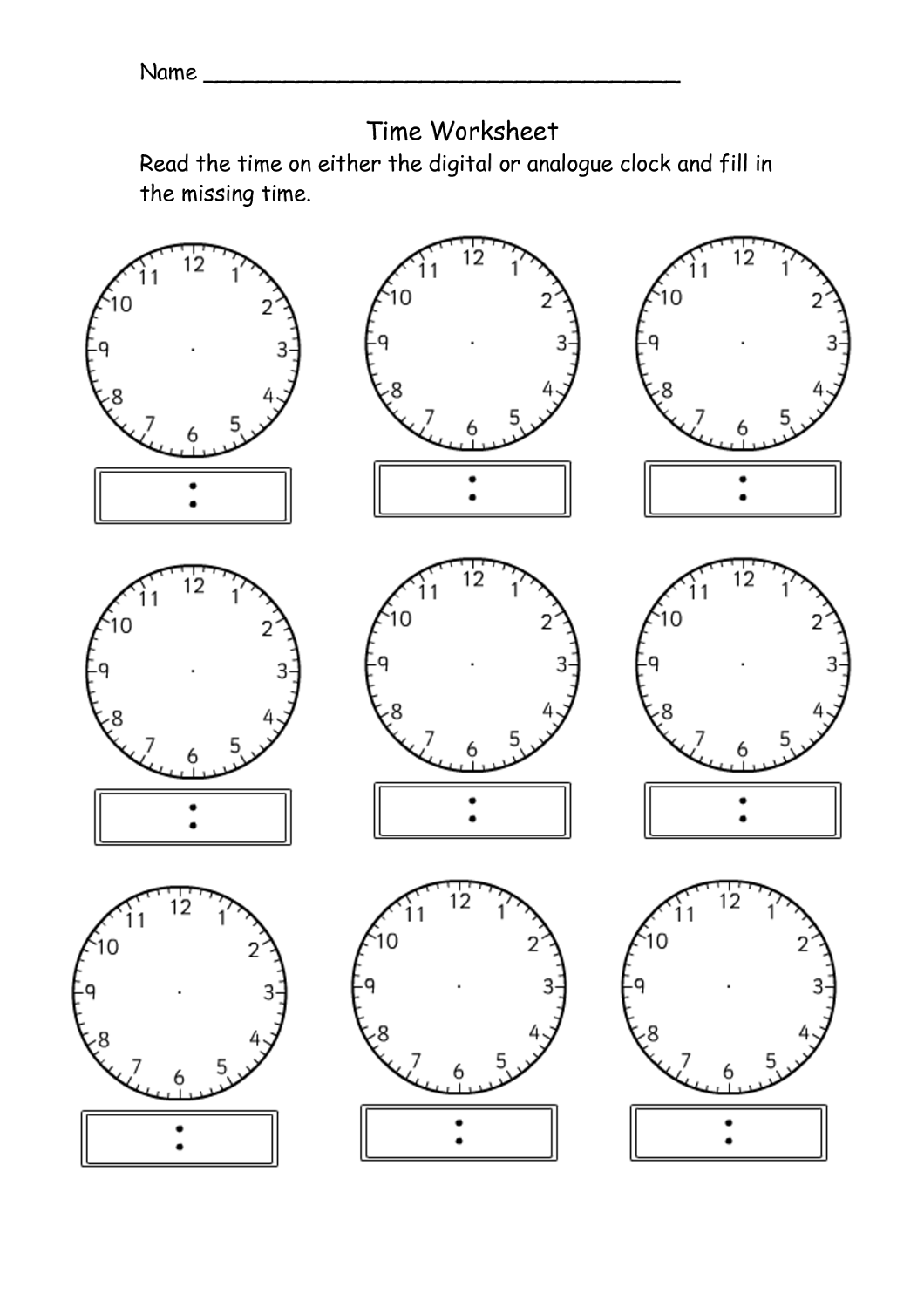 Clock Worksheets Grade 3