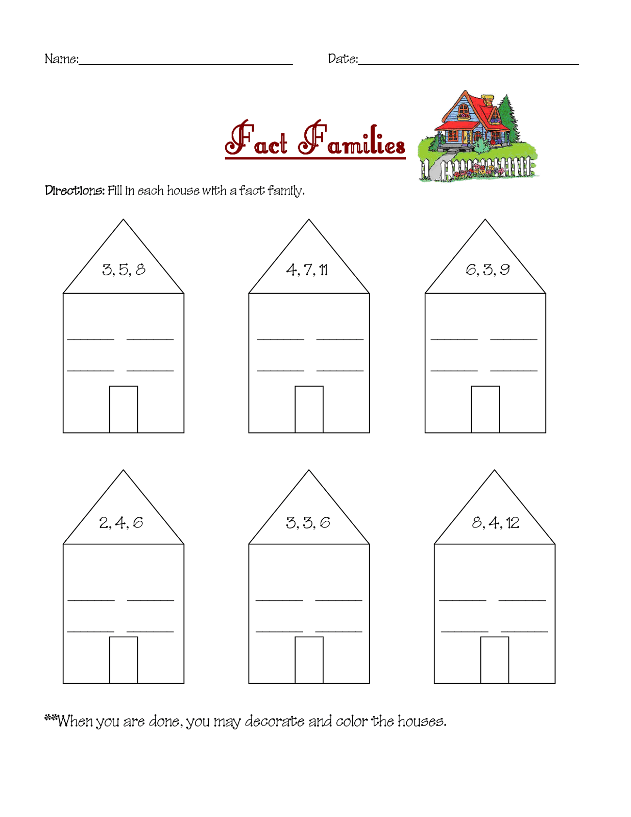 Family Worksheet Beginners