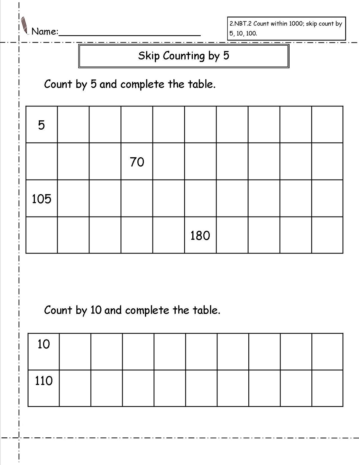 Number Sequence Worksheet Free
