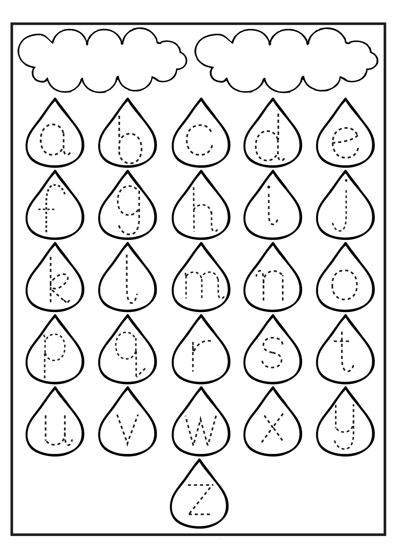 Tracing Lowercase Letters Printable Worksheets