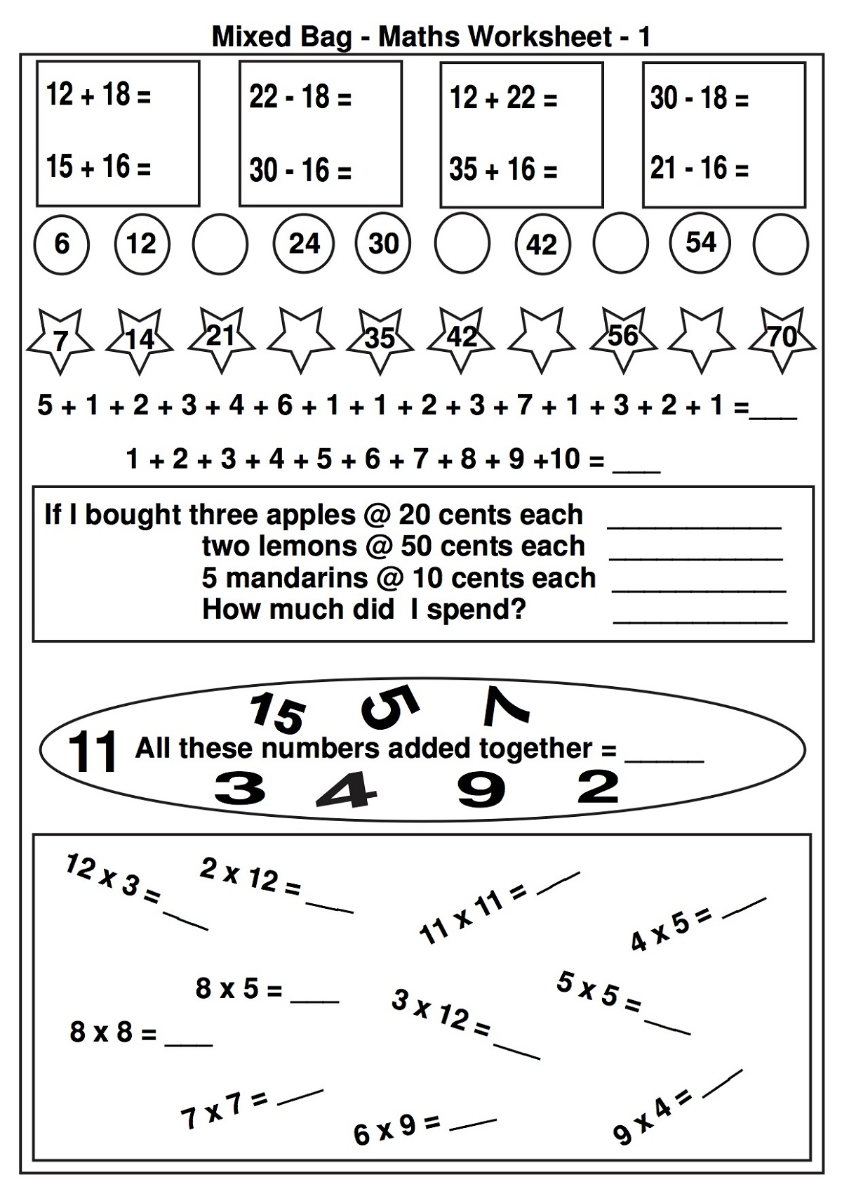 Printable Math Games For Kids