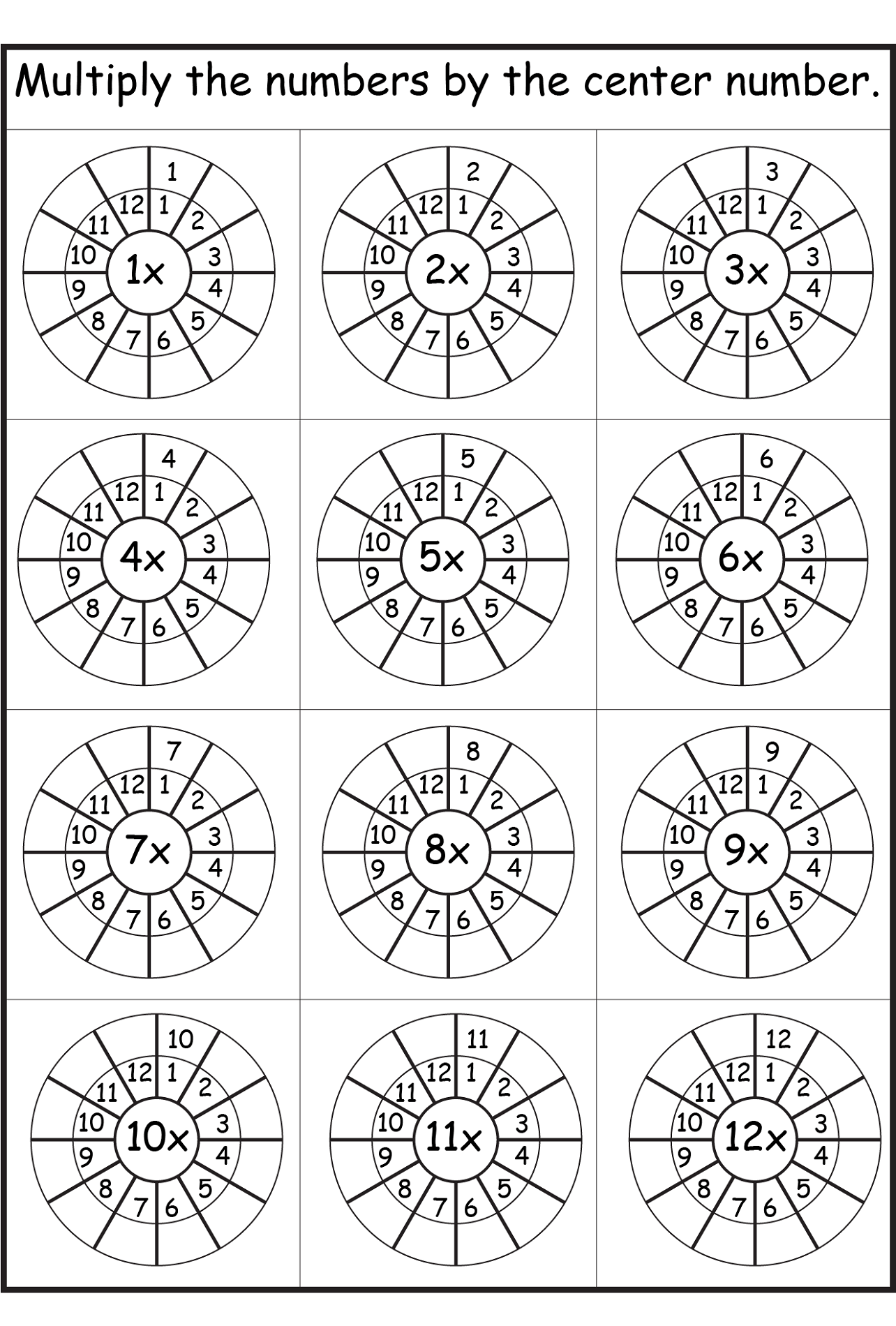 8 Times Tables Worksheets