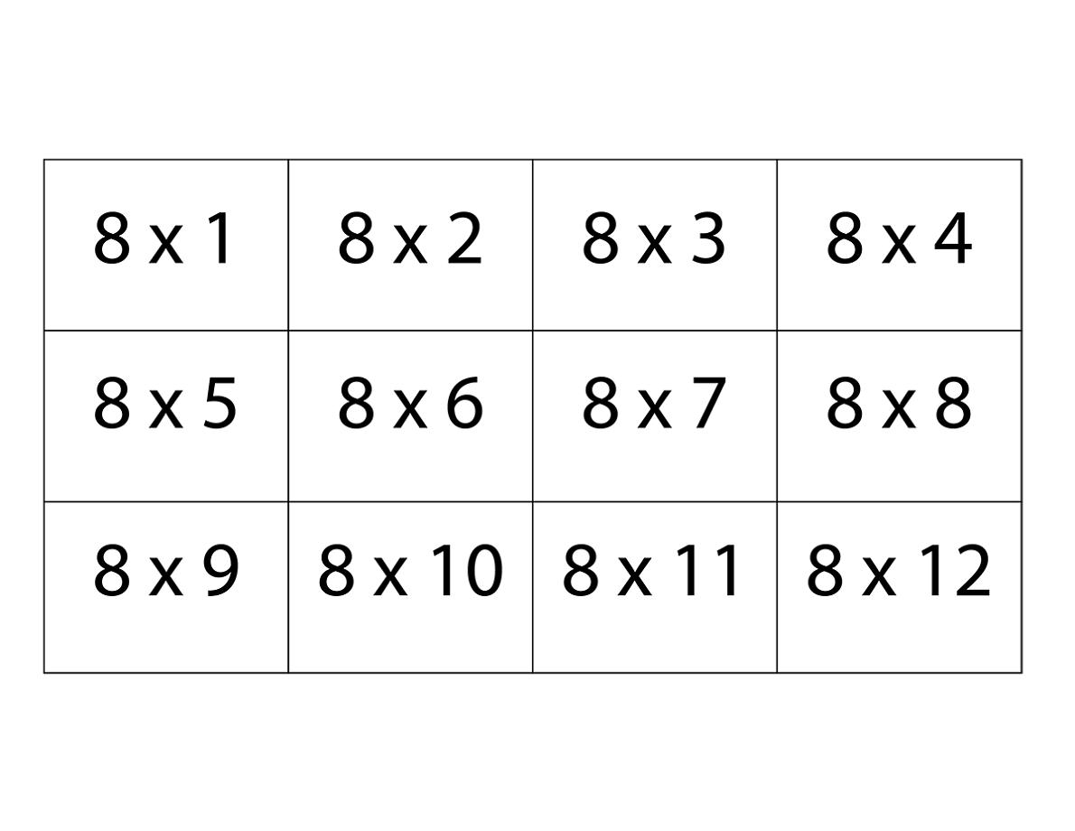 8 Times Table Printable
