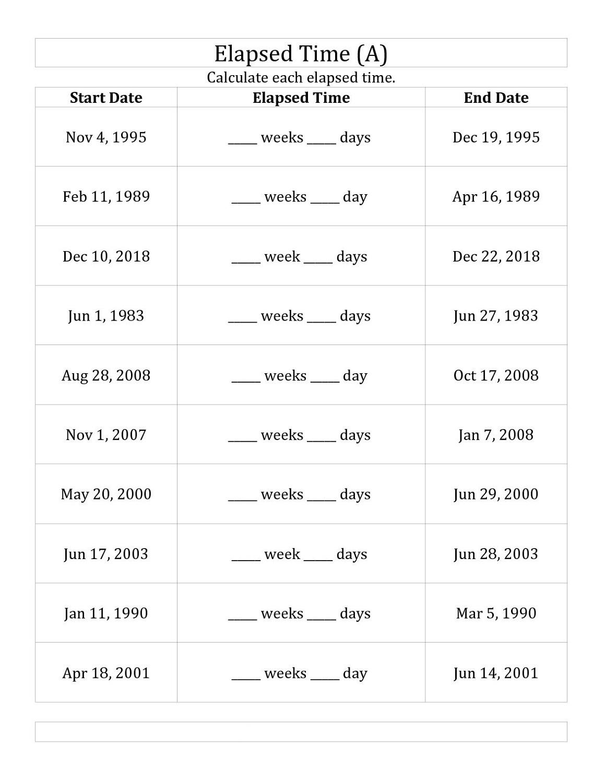 Printable Elapsed Time Rulers