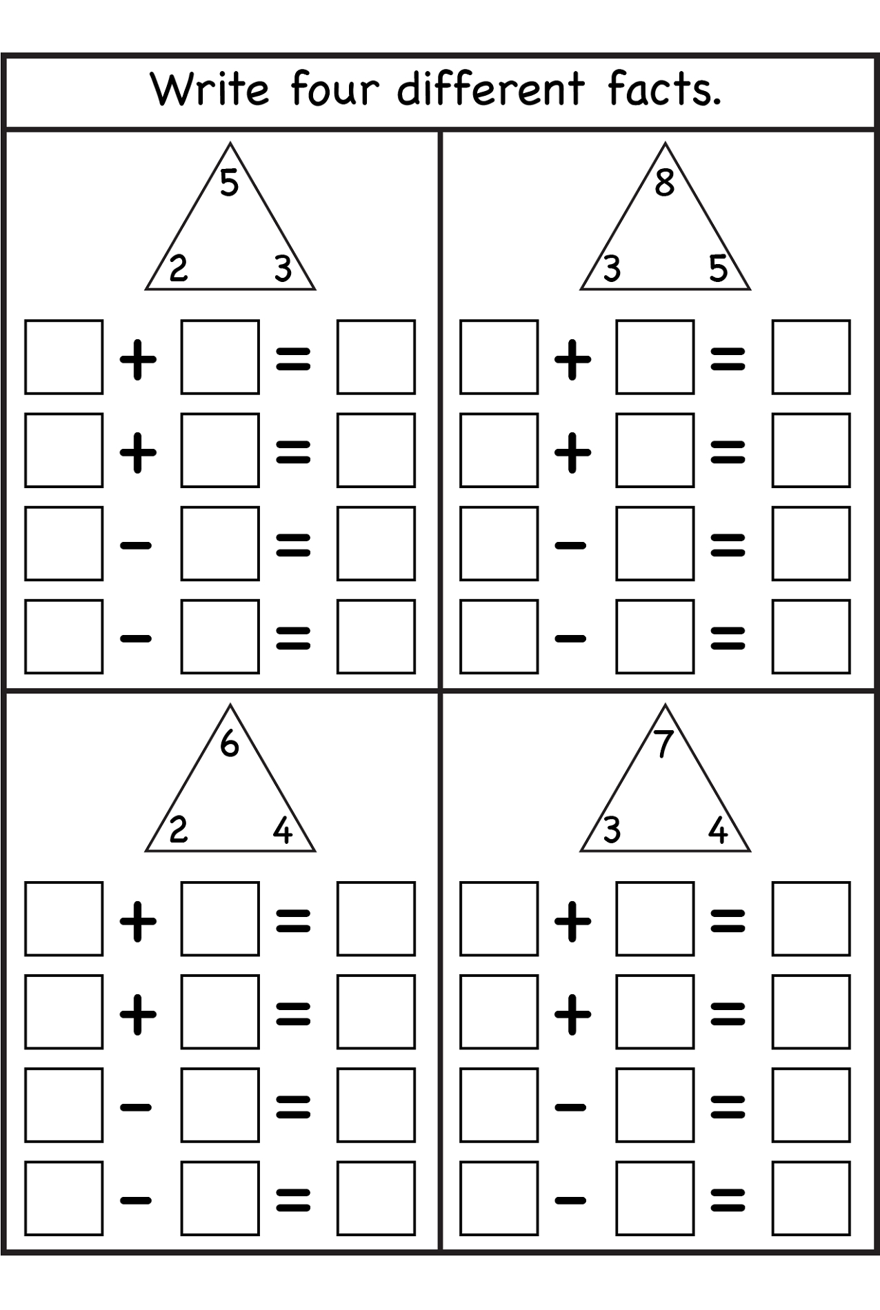 Triangle Division Fact Family Worksheet