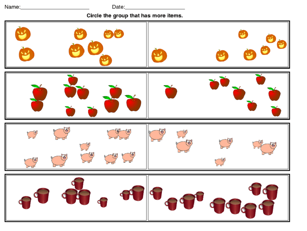 Printable More Or Less Worksheets