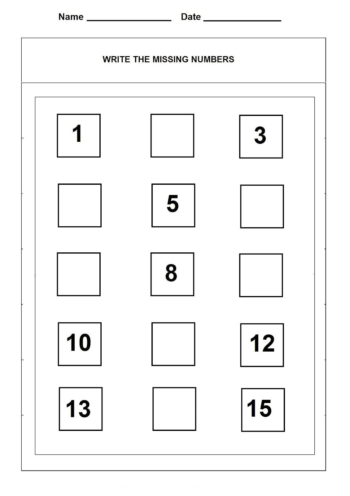 Number Recognition Worksheet Number 15