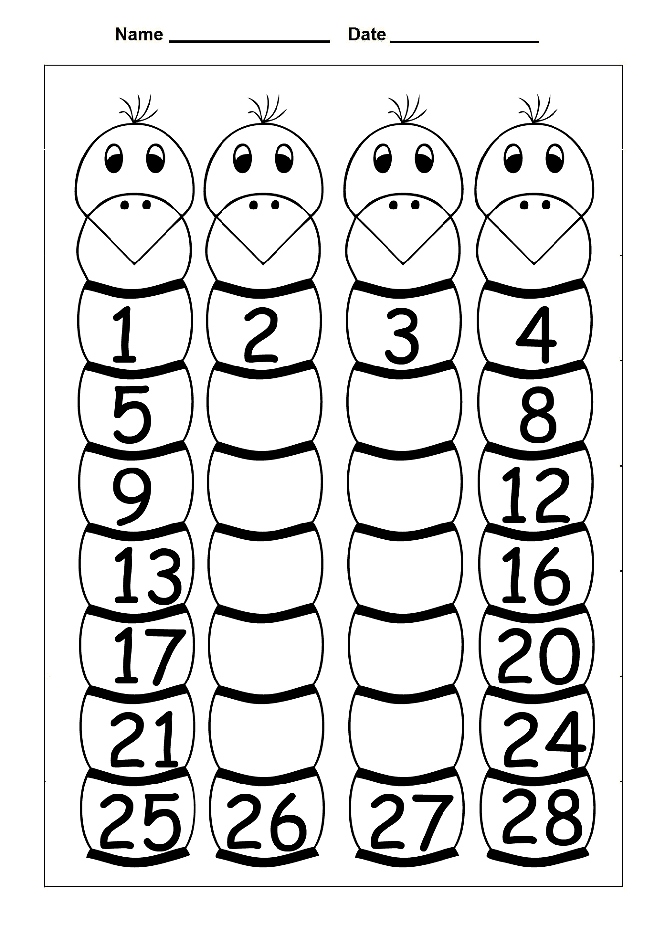 Free Printable Number Chart 1 30