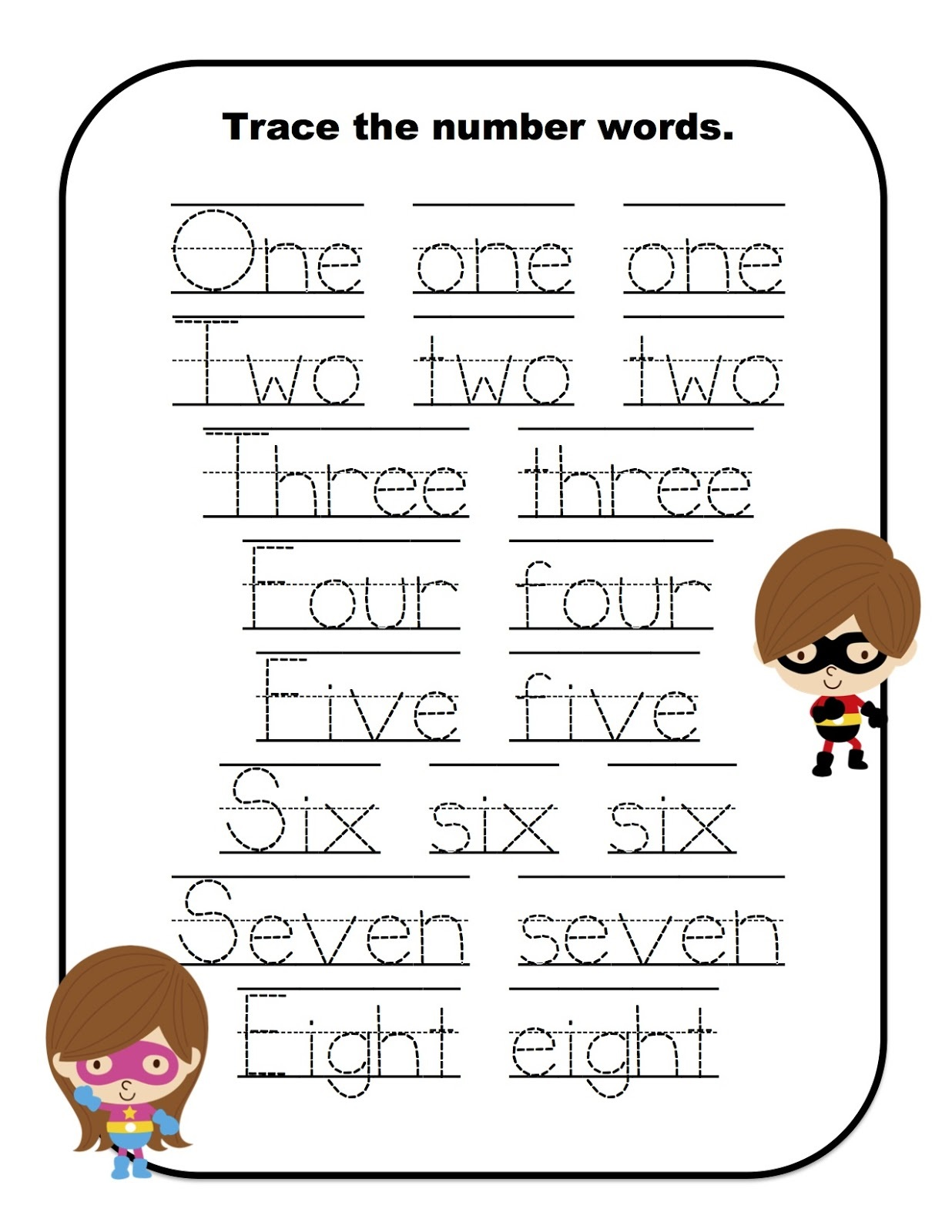 Number Words Worksheets