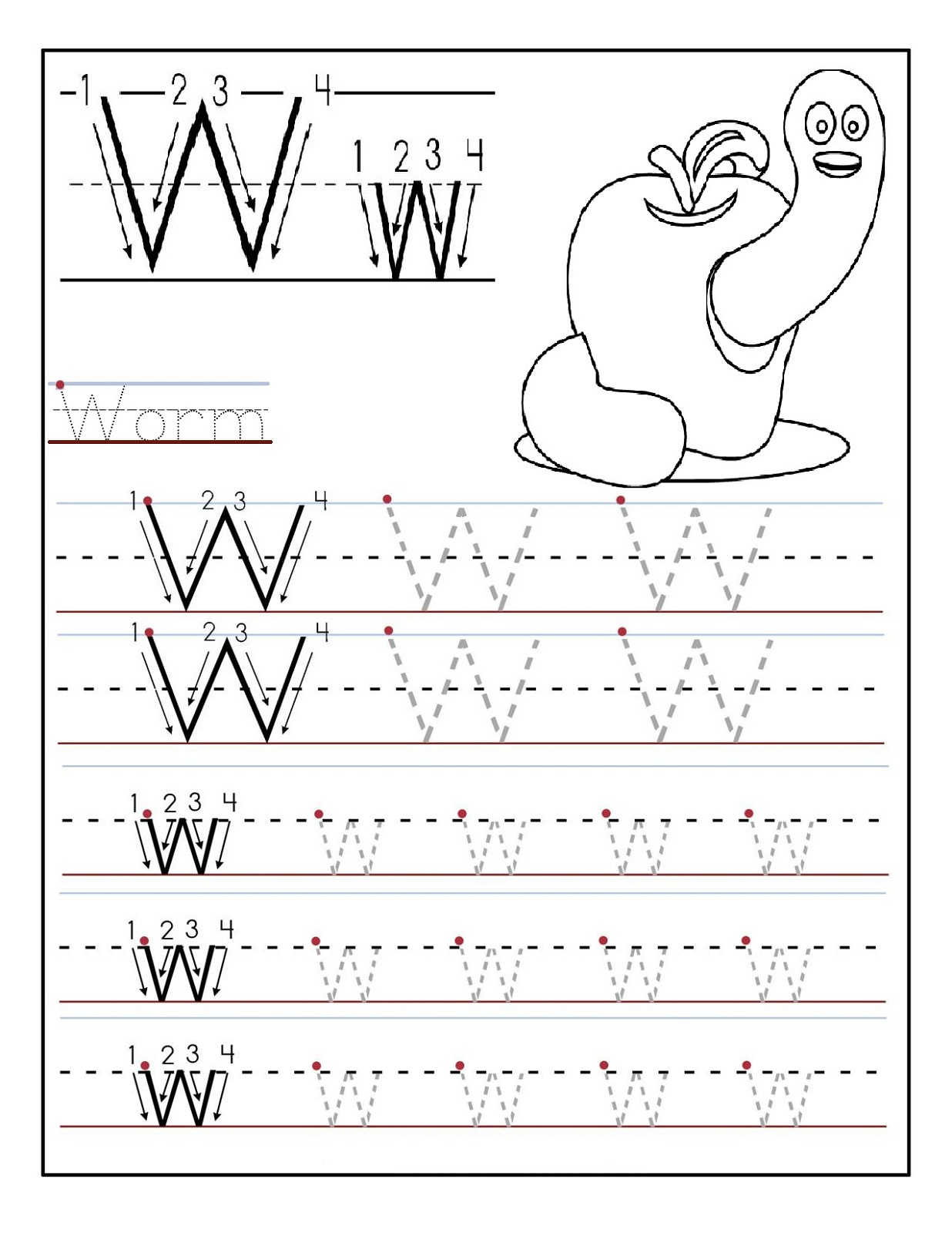 Preschool Alphabet Worksheets Worm With