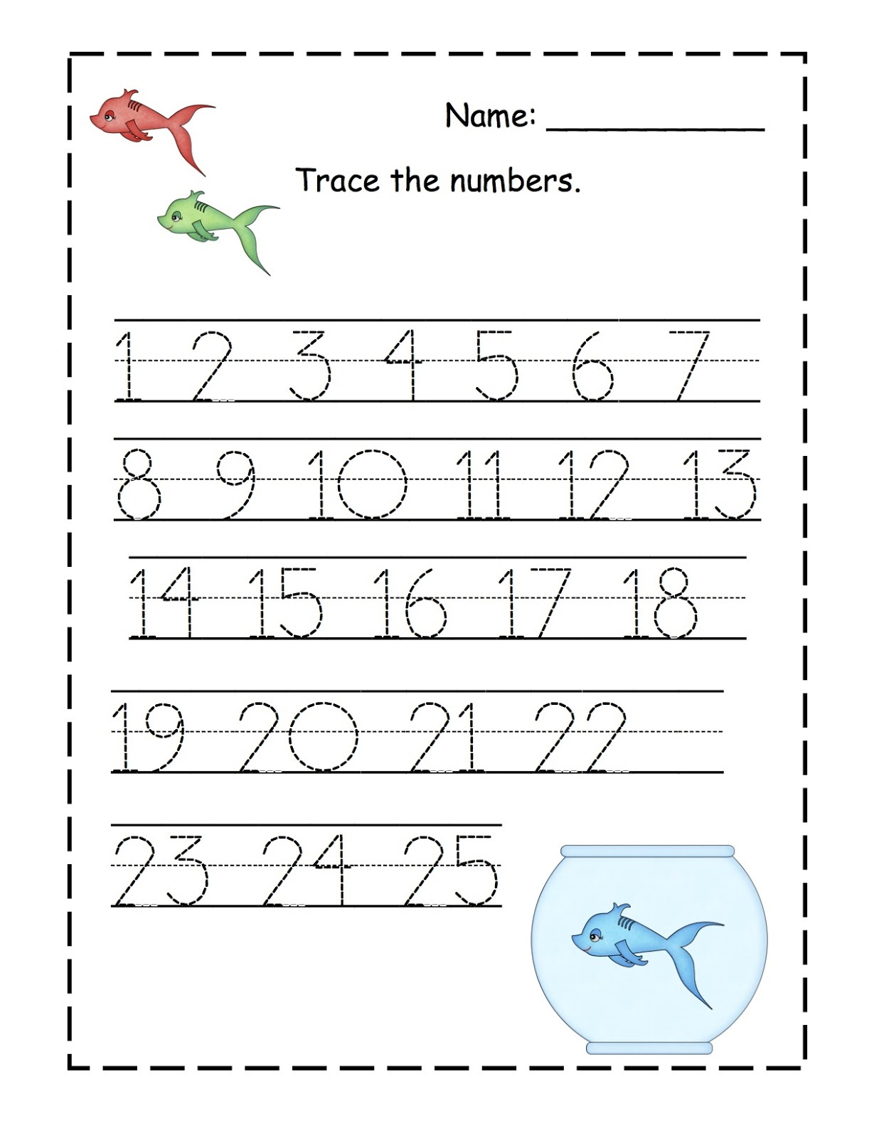 Trace Number 1 20 Worksheets