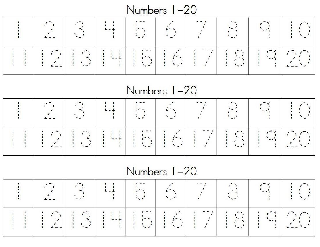 Trace Number 1 20 Worksheets