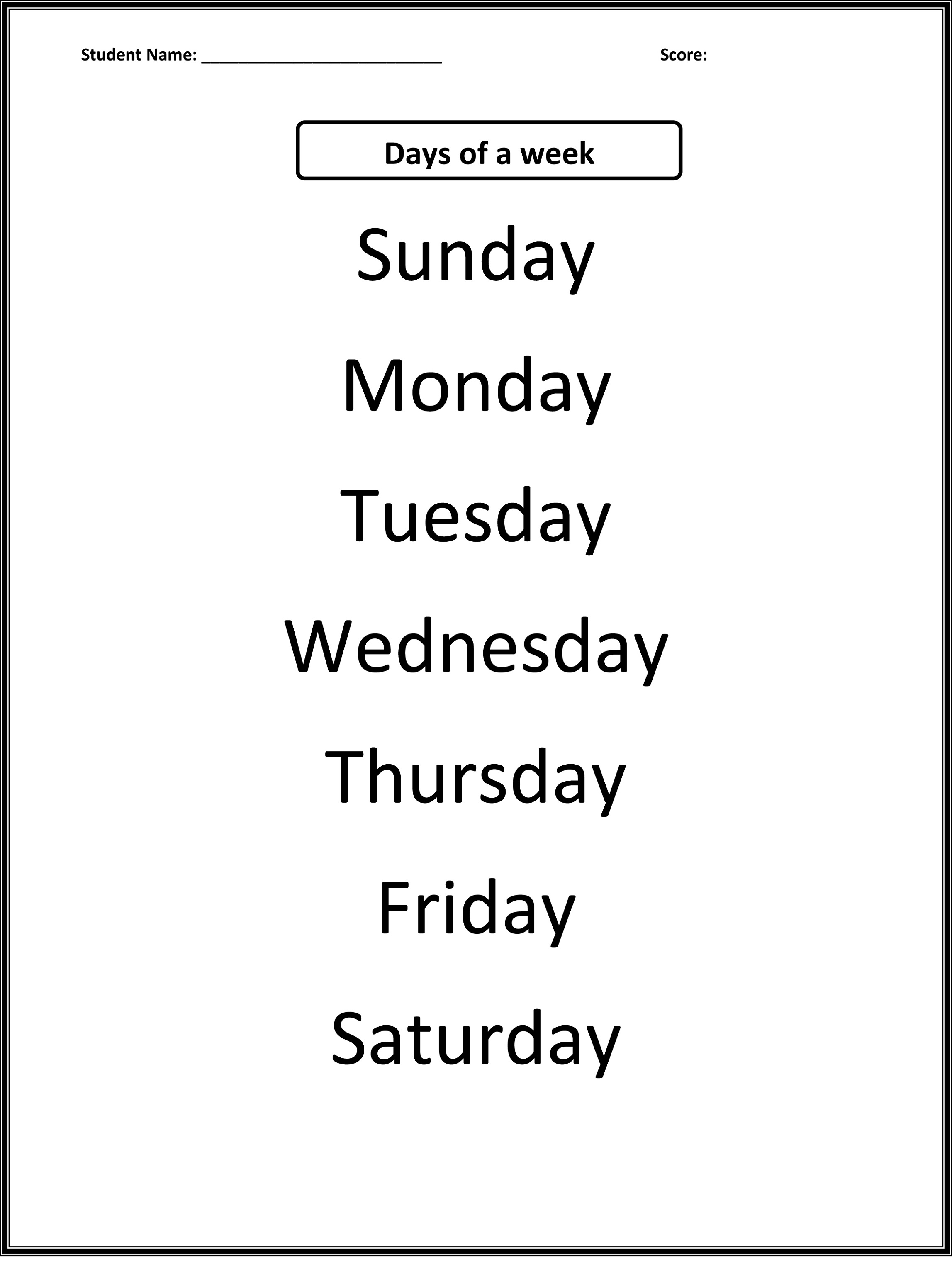 Worksheets For Days Of The Week