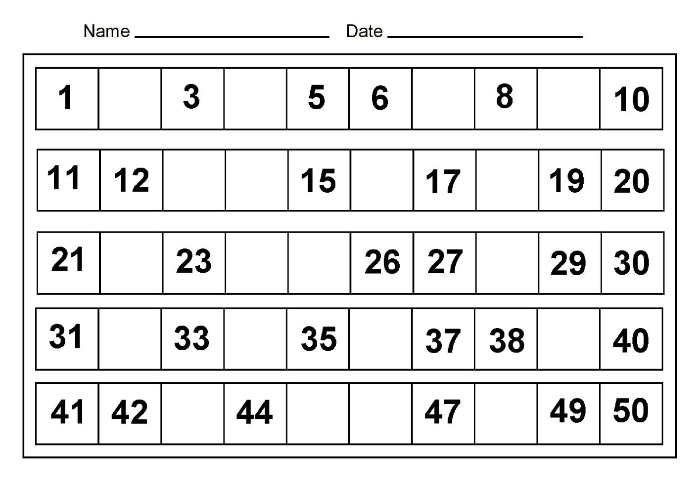 Free Number Worksheets Printable