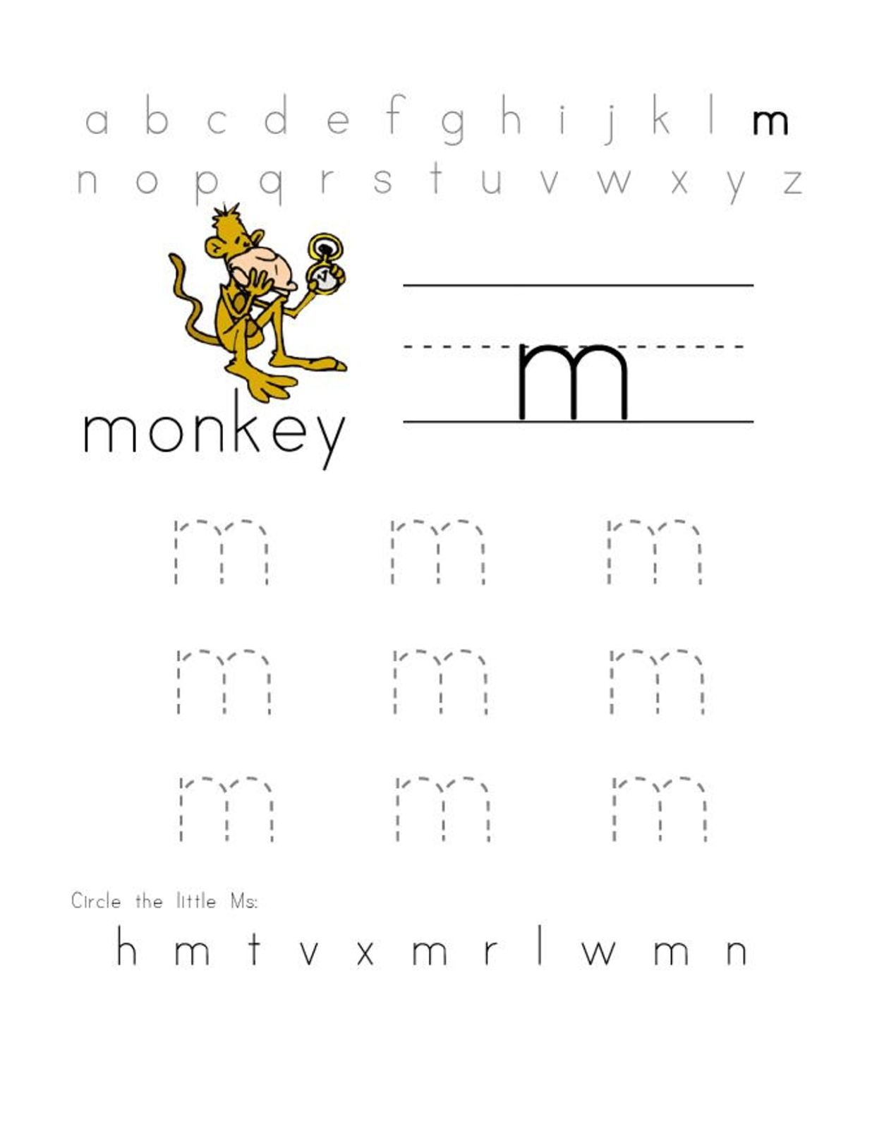 Handwriting Worksheet Letter M
