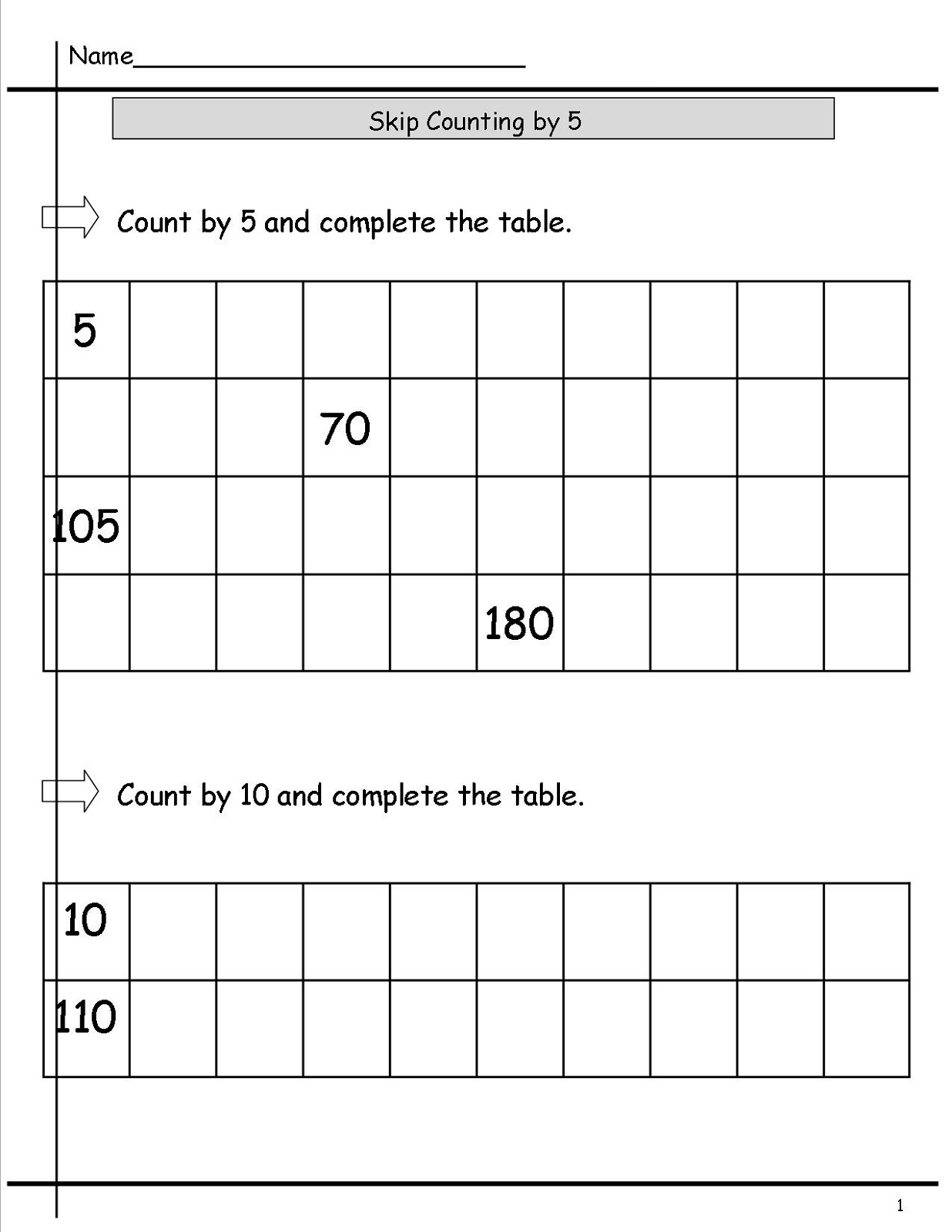 Printable Skip Count By 5 Worksheets