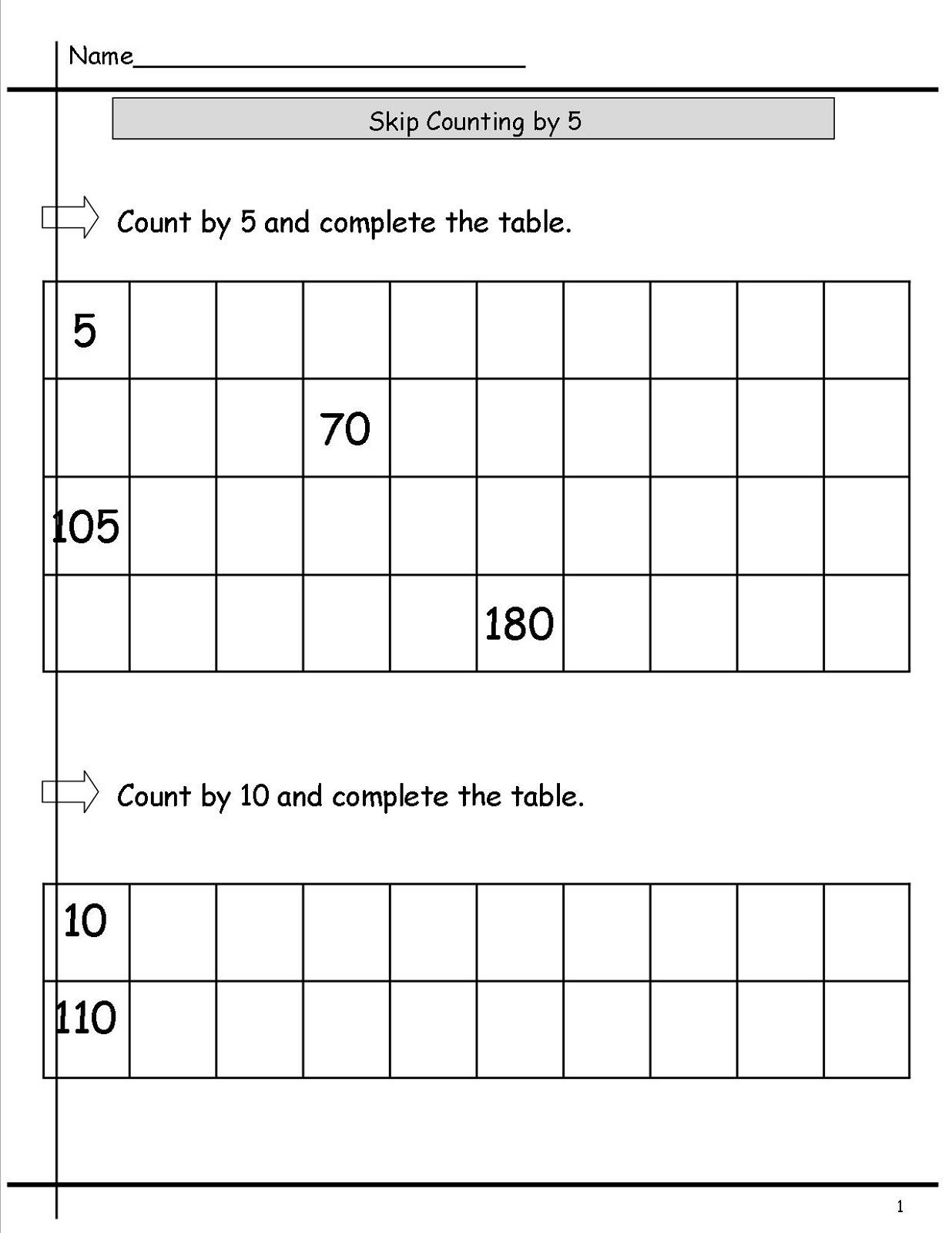 5 Skip Counting Worksheet