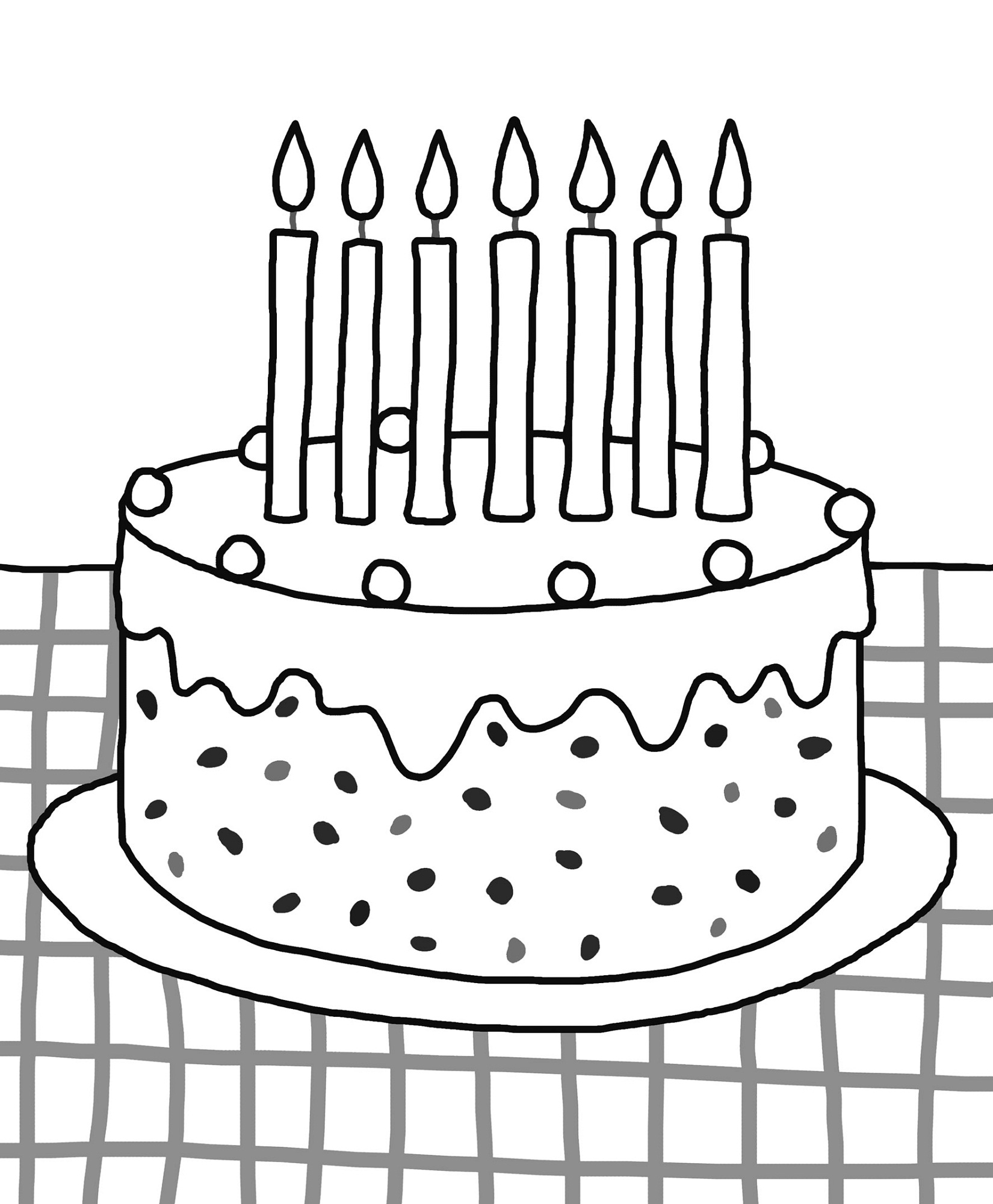 Birthday Cake Color Pages