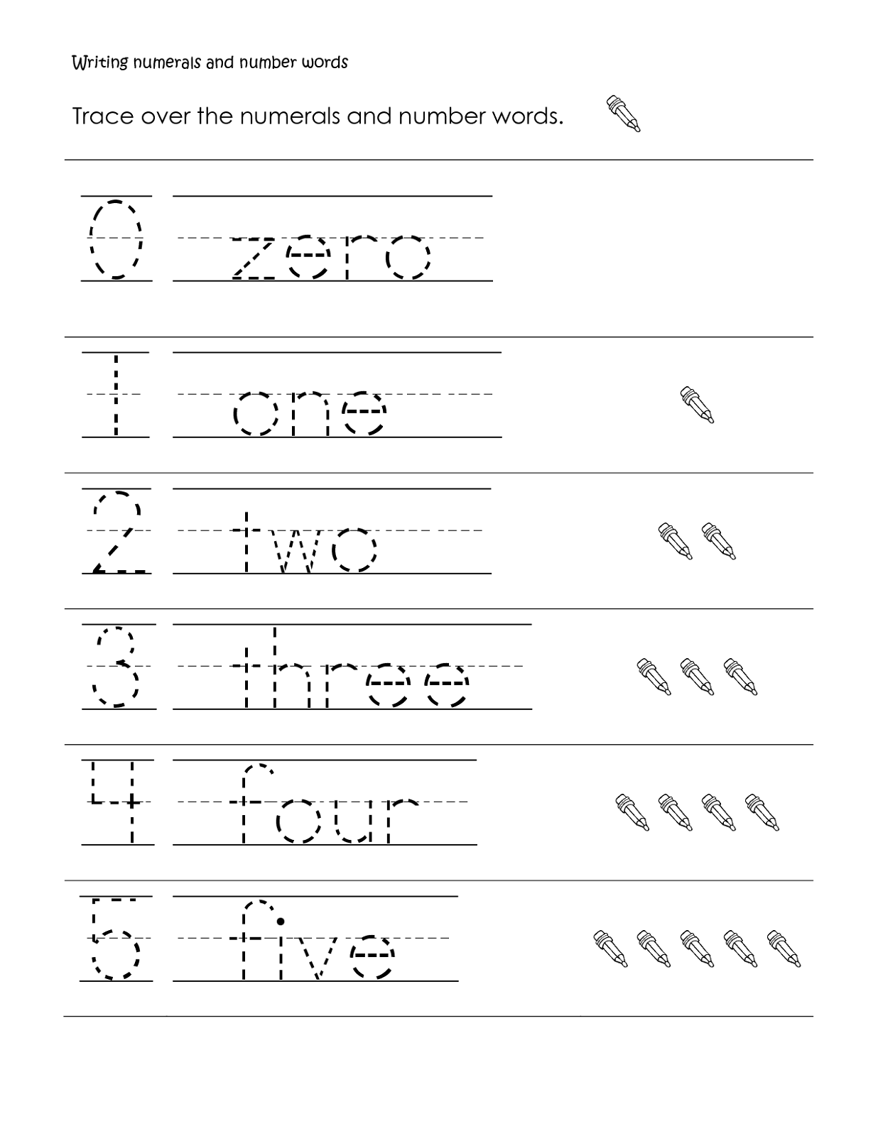 Printable Number Words Worksheets