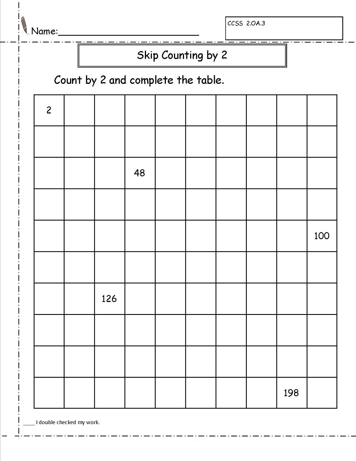 Skip Count By 2 Worksheets