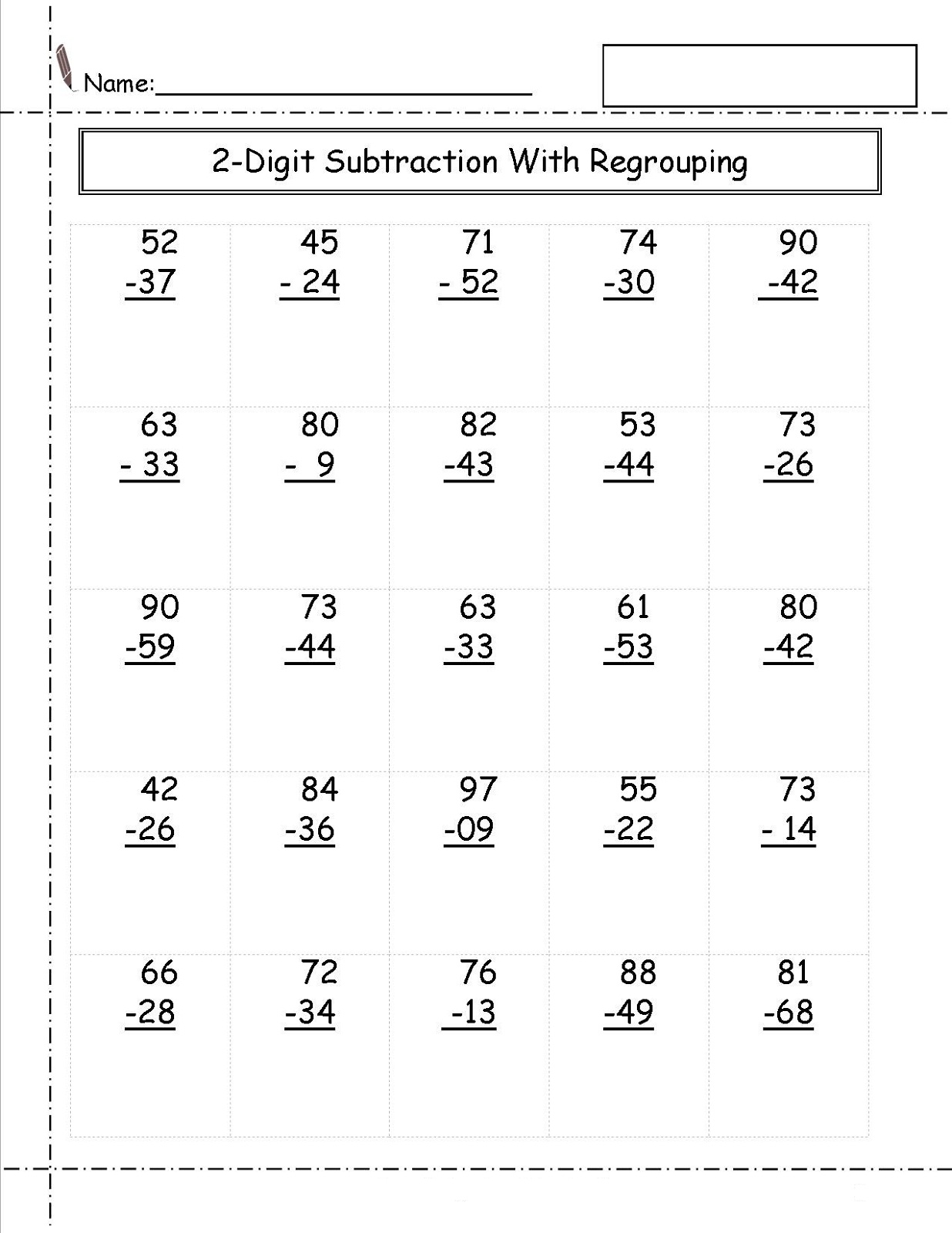 Free Two Digits Math Worksheets