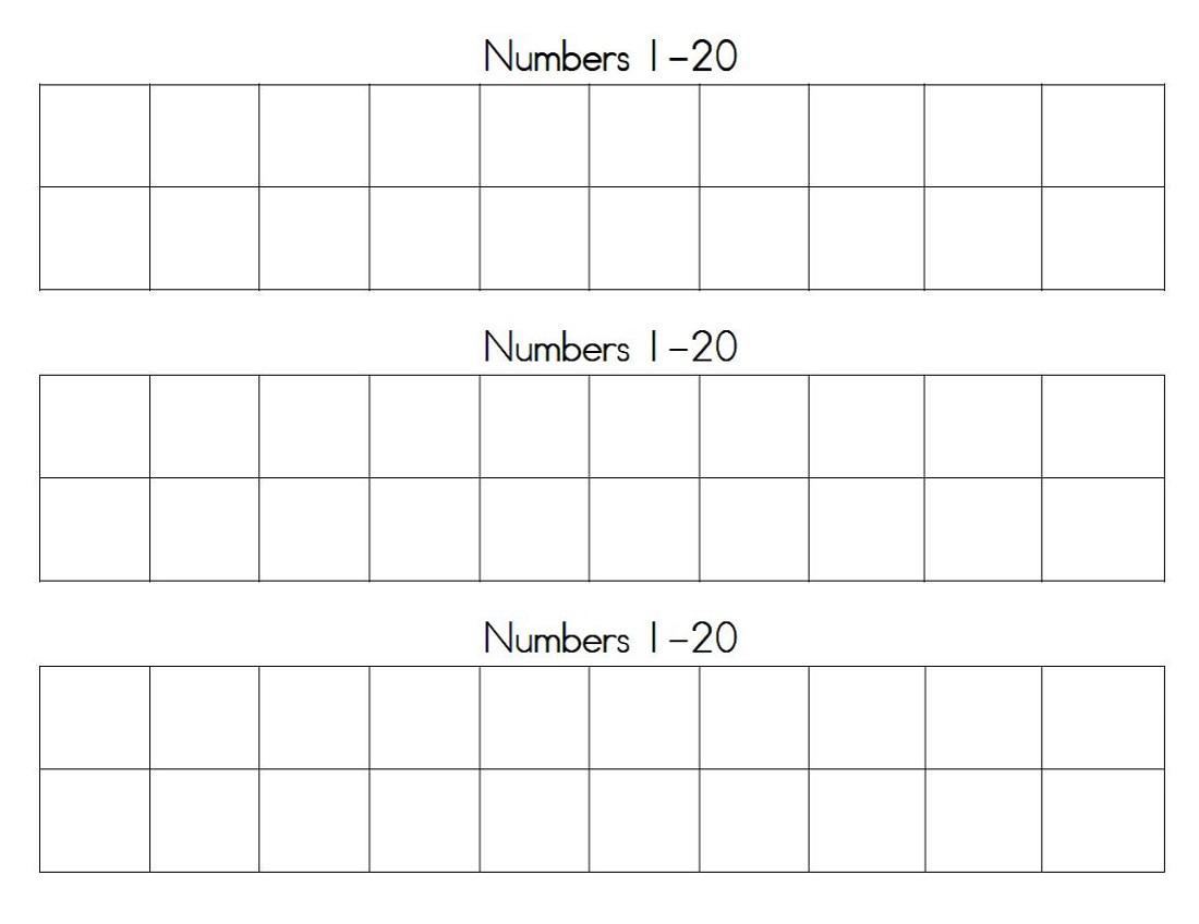Printable Number Chart 1 20