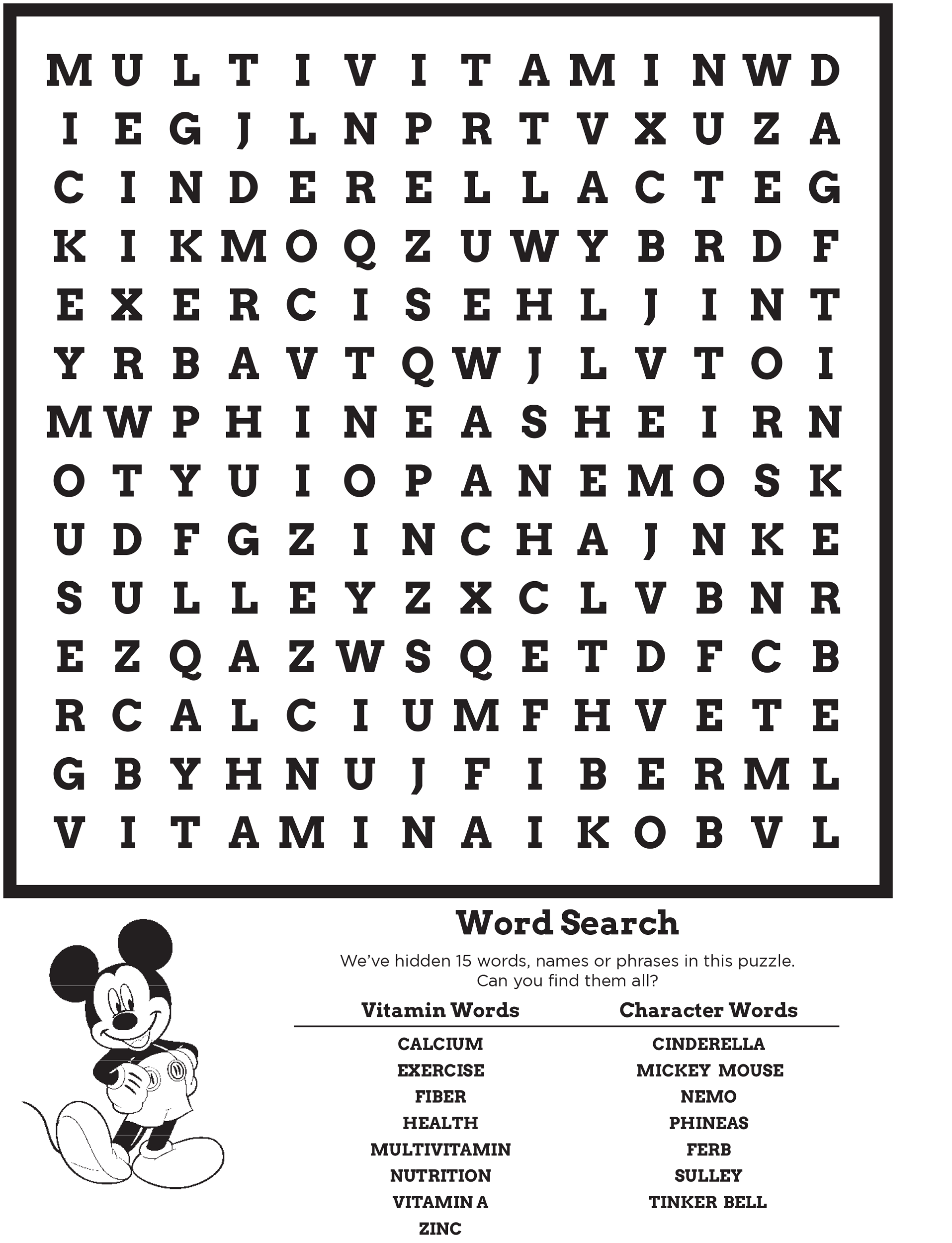 Disney Word Search Puzzles