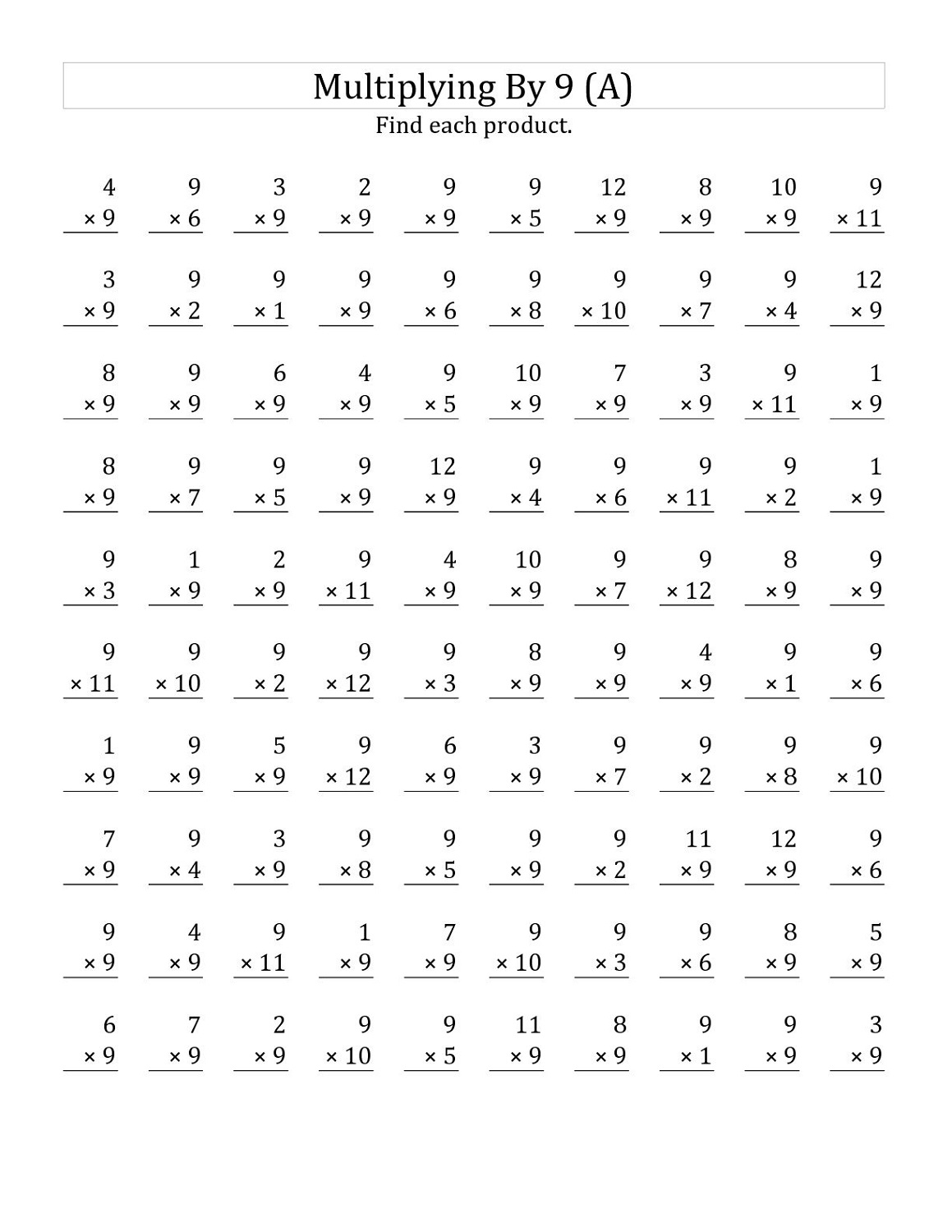 Multiply By 9 Worksheets