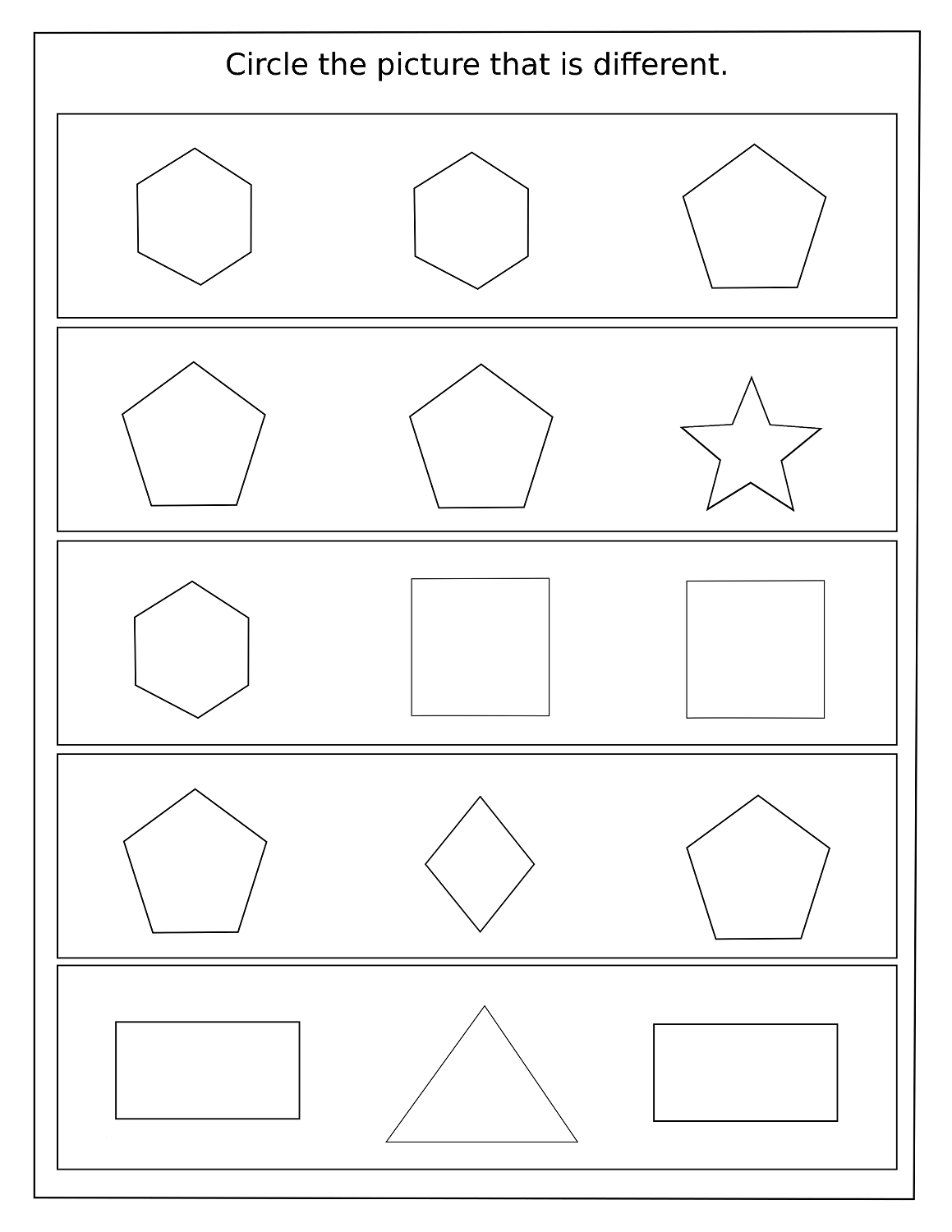 Simple Same And Different Worksheets