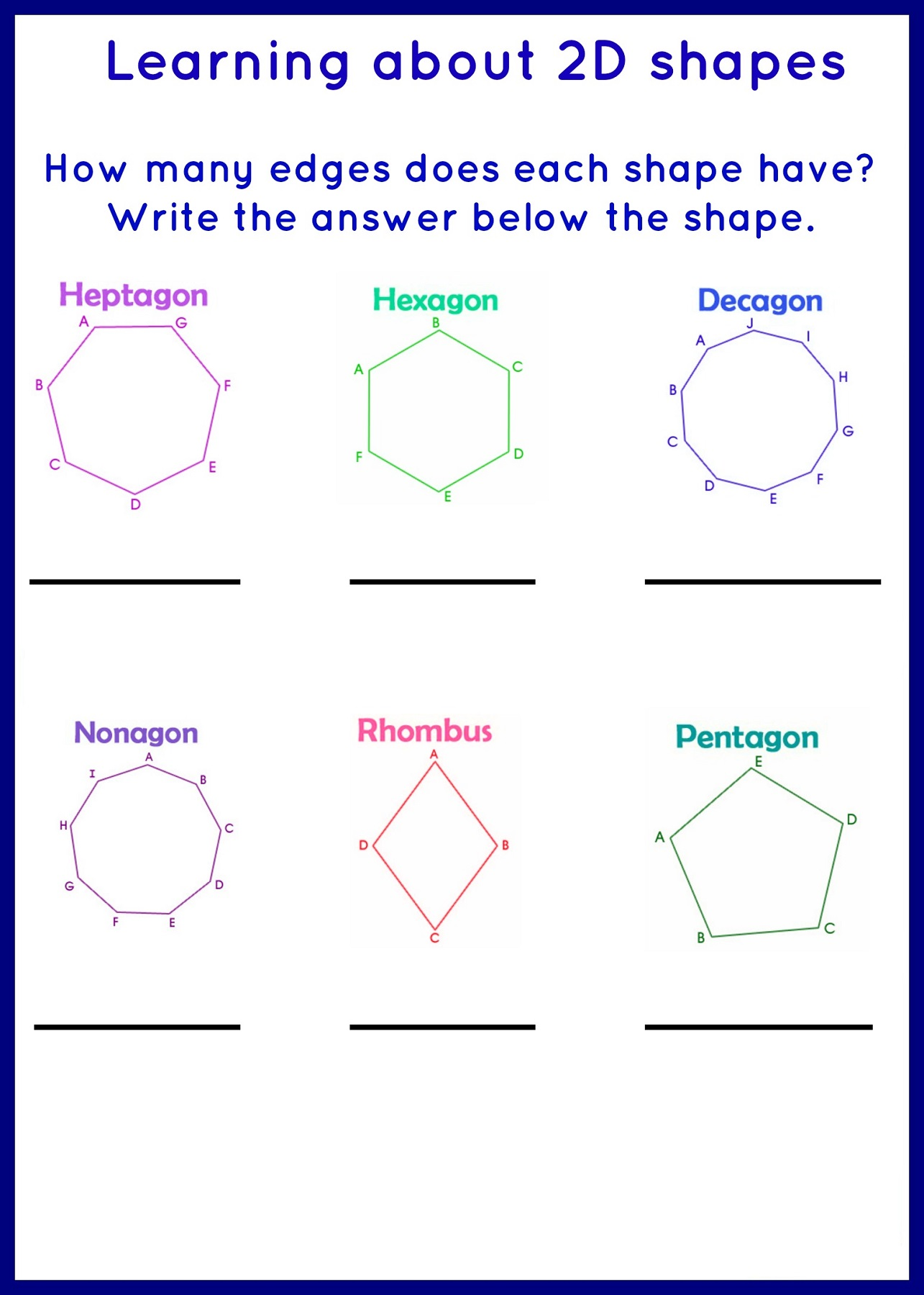 2d Shapes Worksheet Esl