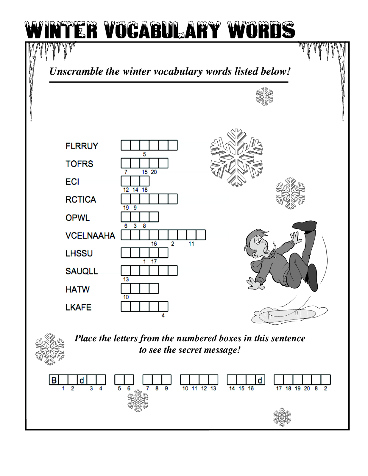 Free Word Scrambles Worksheets