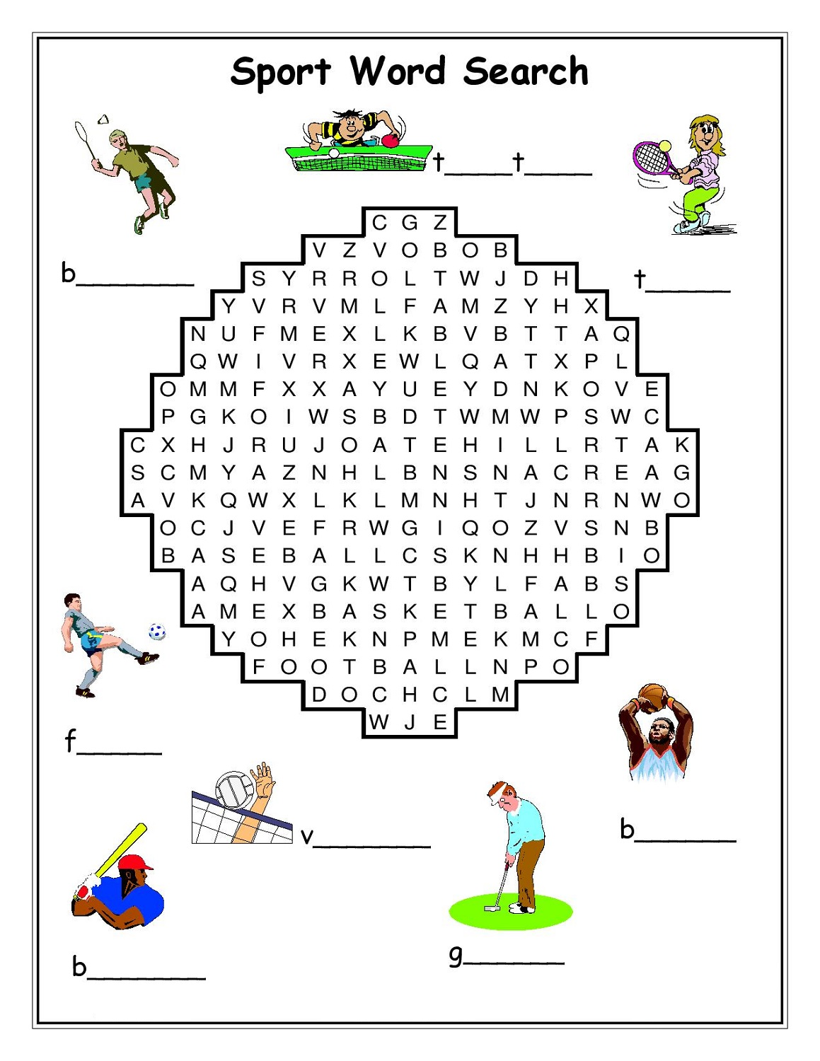 Printable Word Search Sports