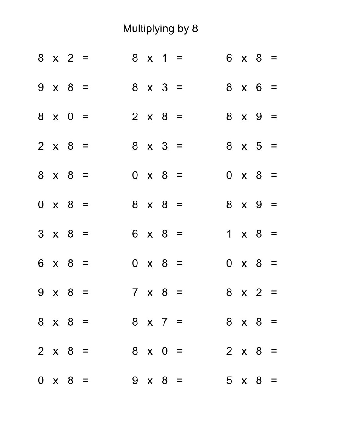 Multiply By 8 Worksheets