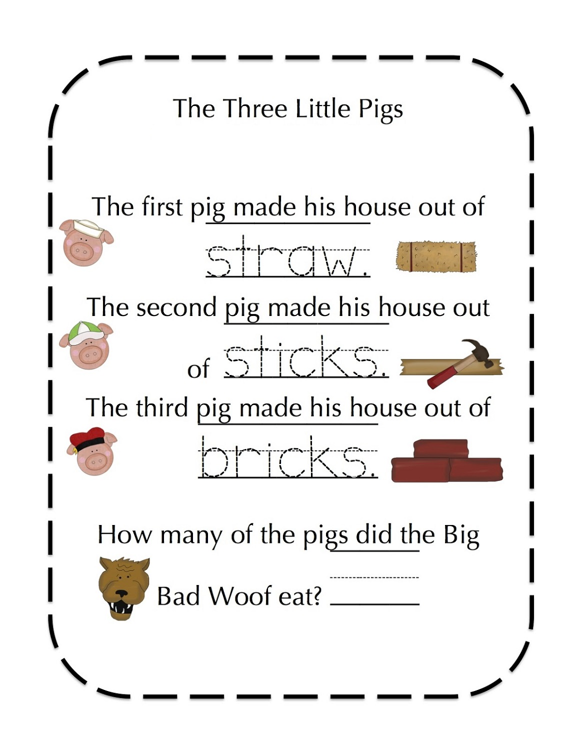The Three Little Pigs Worksheets