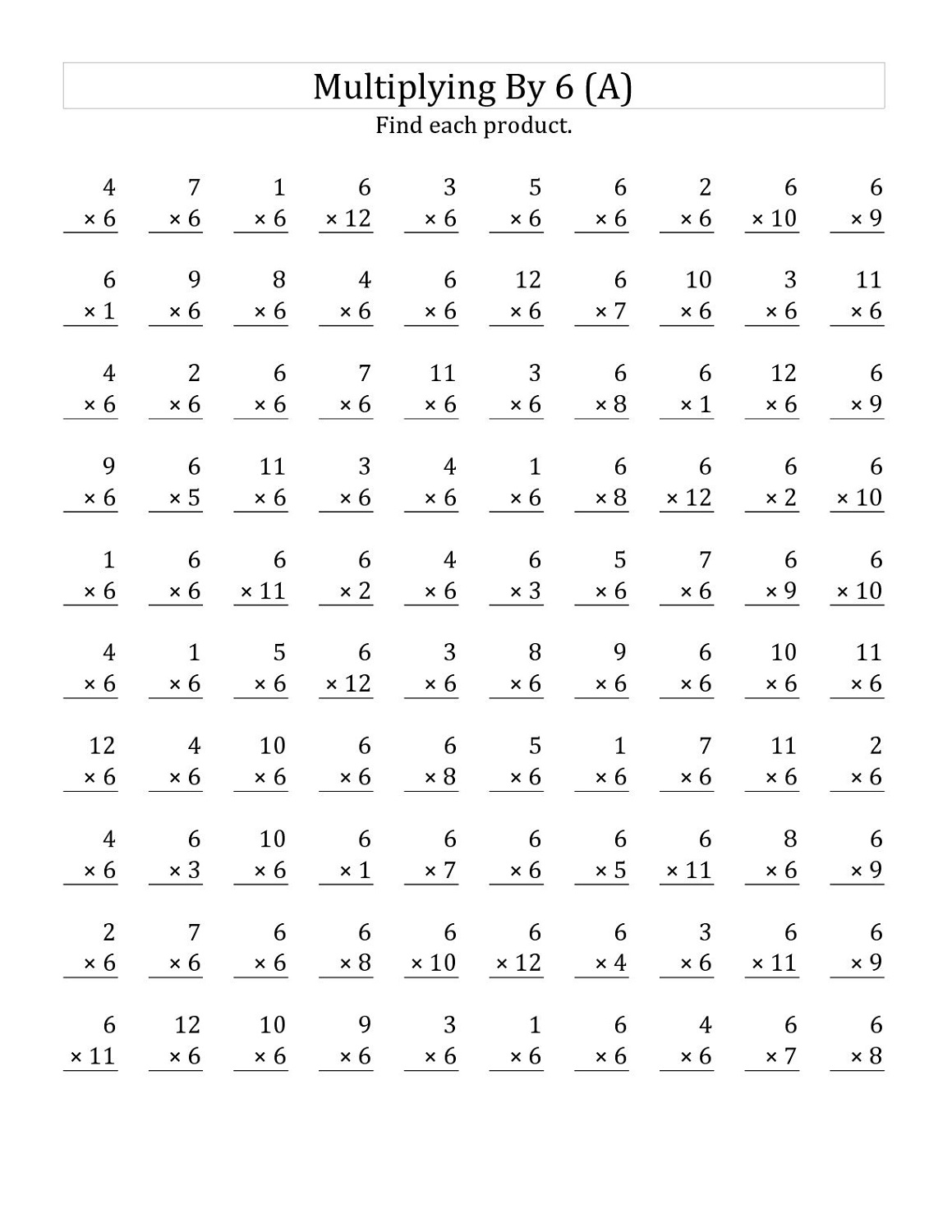 19 Times Tables Worksheet