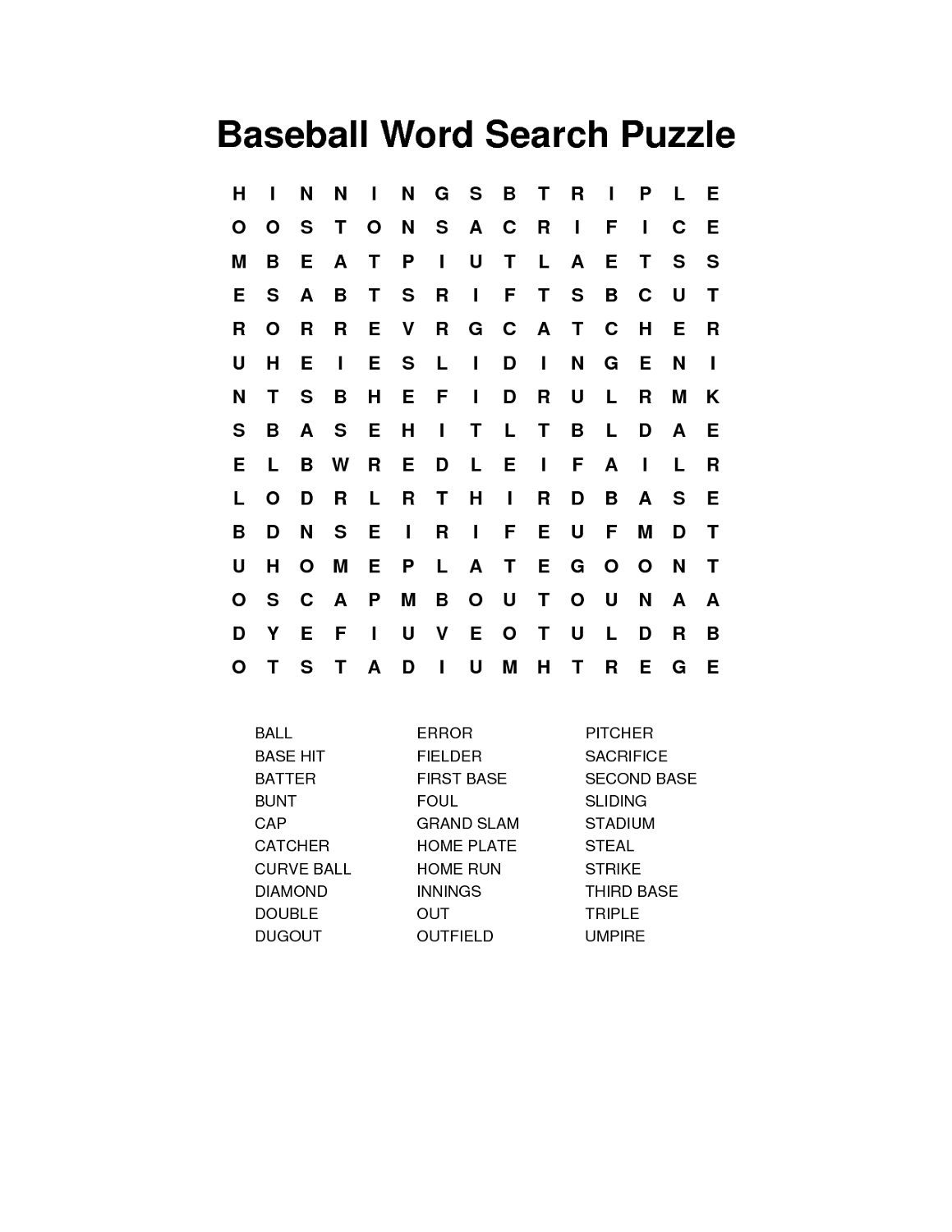 Baseball Word Searches