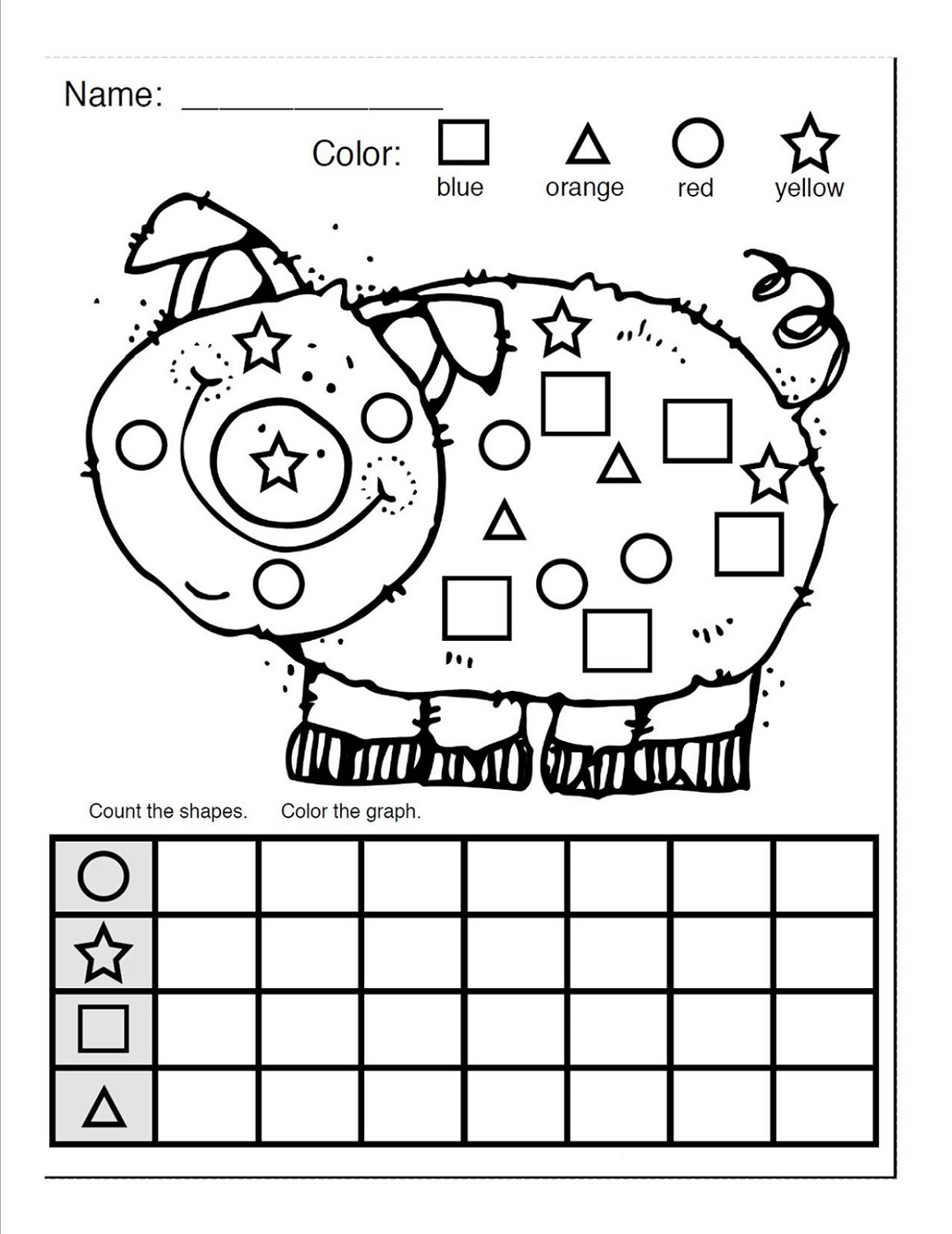 Preschool Worksheet About Pigs